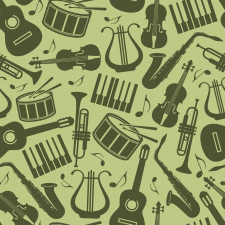 instrumental: seamless vintage background with music instruments