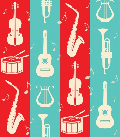 seamless vintage background with music instruments Vector