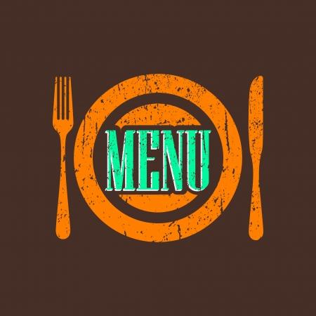 vintage menu label with grunge texture Vector
