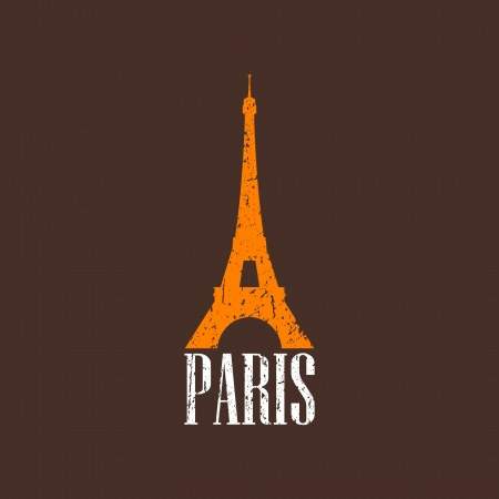 vintage illustration with Eiffel tower Stock Vector - 22030282