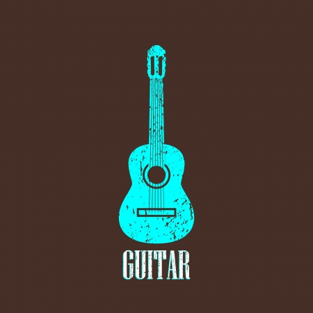 classical guitar: vintage illustration with the guitar Illustration