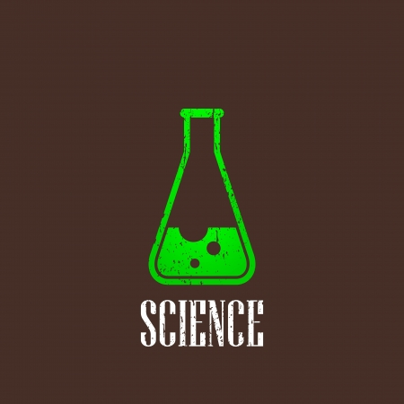 laboratory label: vintage illustration with laboratory equipment icon  science concept Illustration