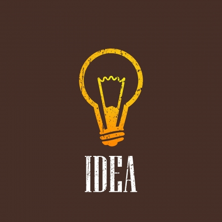 vintage illustration with a light bulb Vector