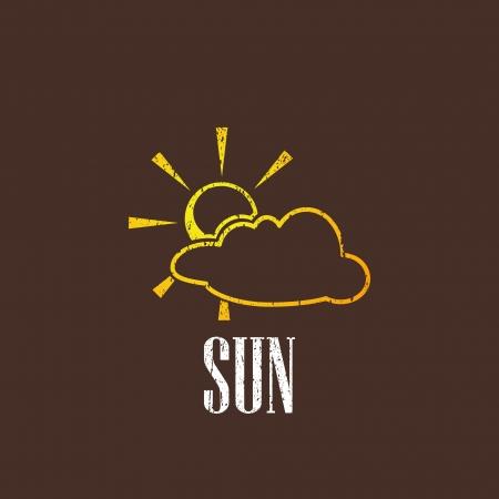 threadbare: illustrazione d'epoca con sole e nuvole Vettoriali