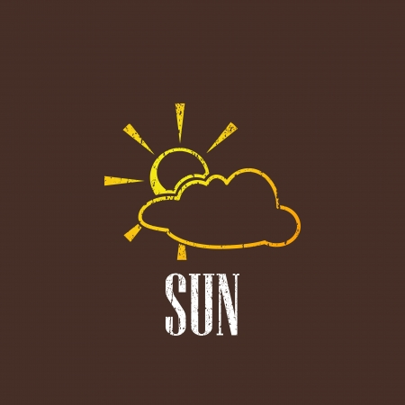 vintage illustration with sun and cloud Stock Vector - 22290269