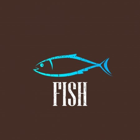 vintage illustration with a fish Vector