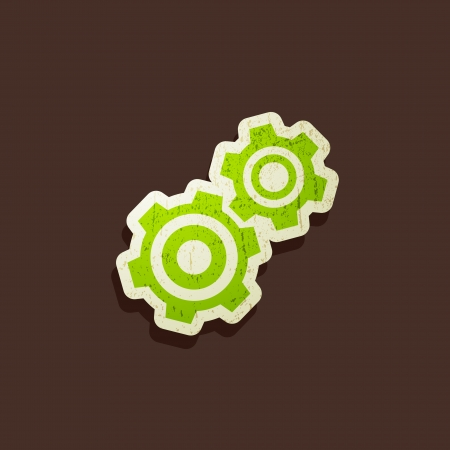 vintage illustration with a gear icon Vector