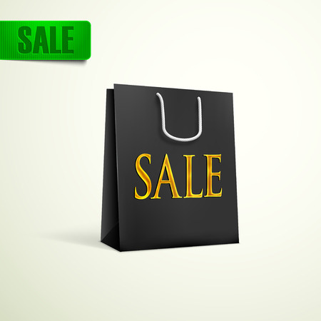 unprinted: compras negro concepto de venta bolsa Vectores