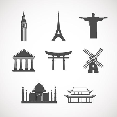 유명한: 세계의 랜드 마크 아이콘을 설정 일러스트
