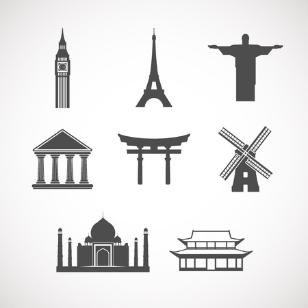 janeiro: set of the world landmark icons