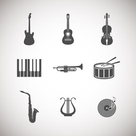 set van muziekinstrument pictogrammen Stock Illustratie
