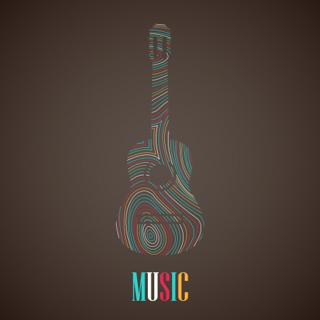 illustration with the multicolored guitar Vector