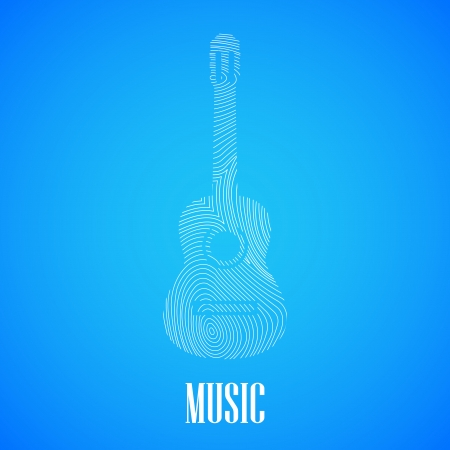 illustration with the guitar shape Vector