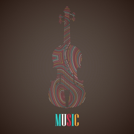 illustration with the multicolored violin Vector