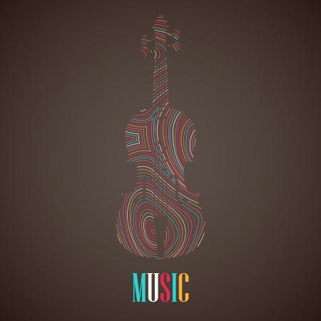 composer: illustration with the multicolored violin Illustration