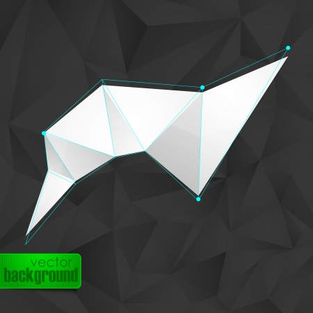 abstract background with black triangles and a white banner Vector
