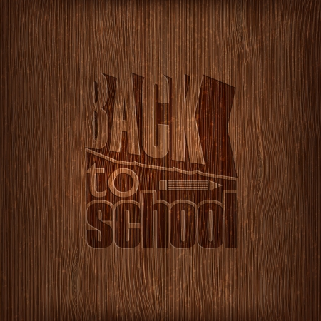 back to school retro design on wooden background Vector