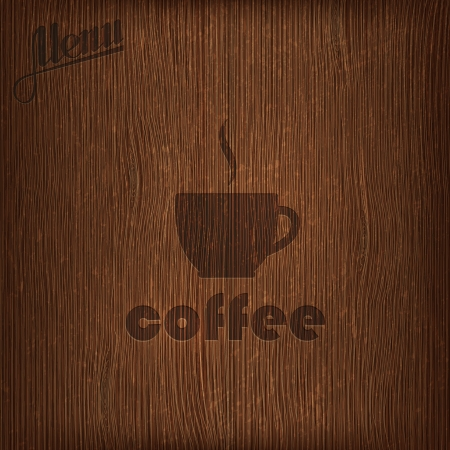 restaurant menu design with coffee cup on wood background Vector