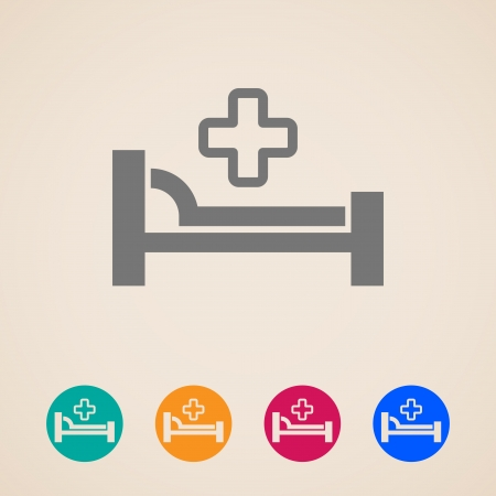 patient in hospital: Icons with bed and cross  hospital sign