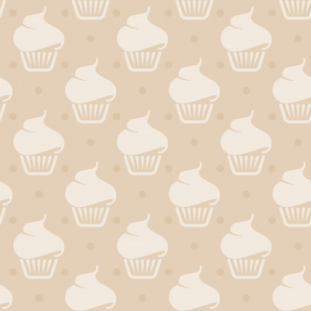Seamless with cupcakes Vector