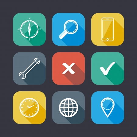 tick: Set of application web icons  flat design with long shadows