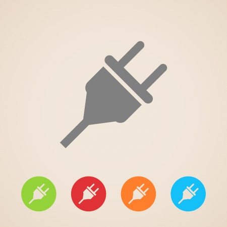 enchufe: icono de enchufe eléctrico Vectores