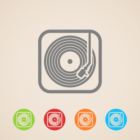 lever arm: record player with vinyl record  icons  Illustration