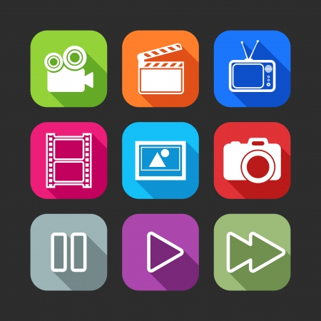 film slate: flat icons for web and mobile applications with creative industry items flat design with long shadows