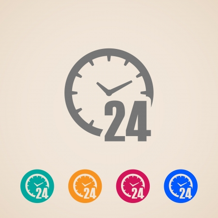 24 hours: open 24 hours a day icons