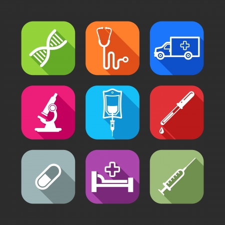 flat icons for web and mobile applications with medical items flat design with long shadows