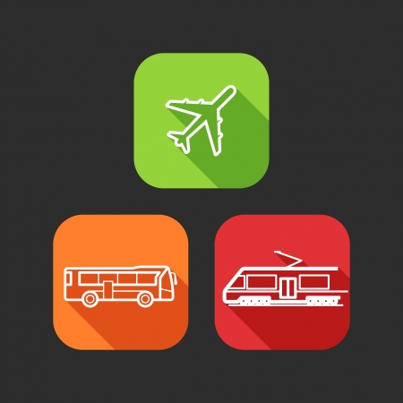 flat icons for web and mobile applications with public transport  flat design with long shadows   Vector