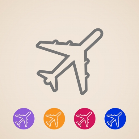 commercial airplane:  Plane icons Illustration