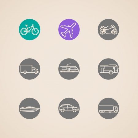 flat icons with different modes of transport Vector