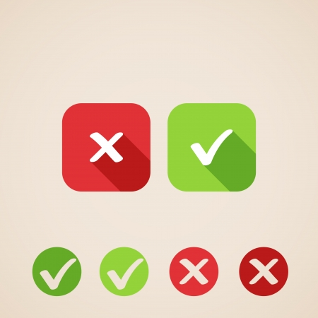 garrapata: Compruebe los iconos marca iconos planos para la web y las aplicaciones m�viles Vectores