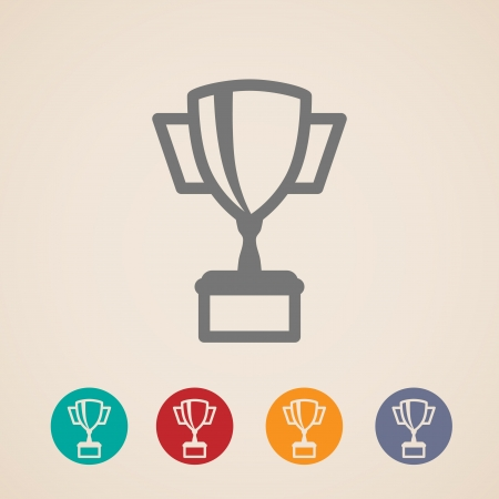 trophy cup: Champions cup icons  Illustration