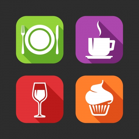 Flat icons for web and mobile applications with meal signs  flat design with long shadows   Vector