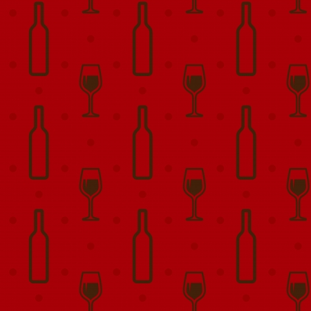 seamless wine bottles and wineglasses Vector
