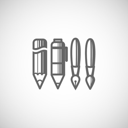 set of drawing and writing tools