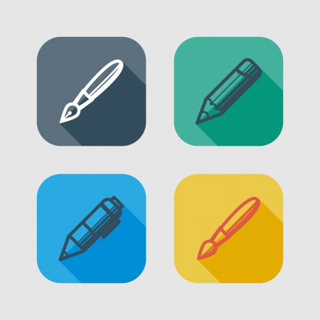 writing tools: set of drawing and writing tools  flat icons with long shadows