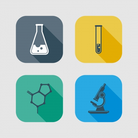 science lab: icon set of science signs  flat design with long shadows