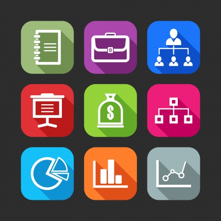 corporate hierarchy: icone piane per applicazioni web e mobile design piatto con lunghe ombre Vettoriali