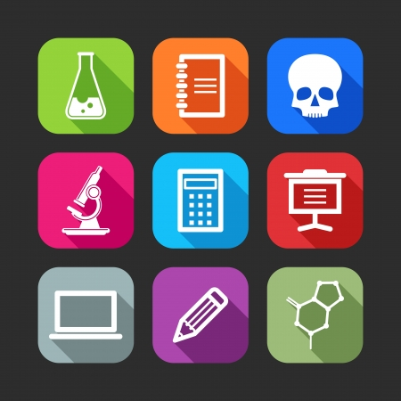 flat icons for web and mobile applications  flat design with long shadows   Vector