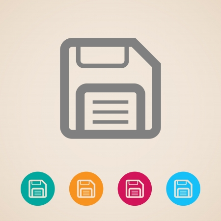 compact disk: floppy disk  storage icon Illustration