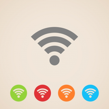 wireless lan: wireless network icon Illustration