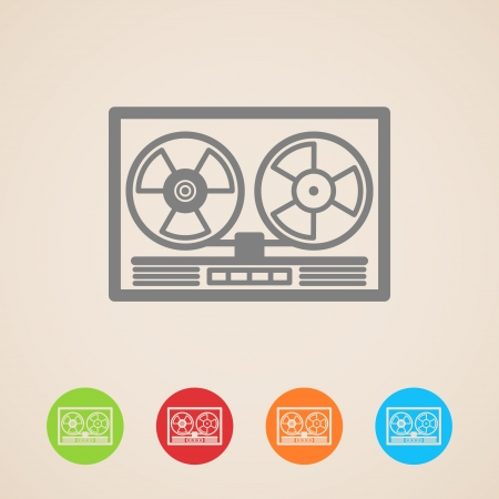 tape recorder: carrete de cinta iconos grabadora Vectores