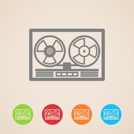 carrete de cinta iconos grabadora