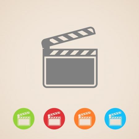 clap board: pel�cula aplaudir bordo de iconos del cine