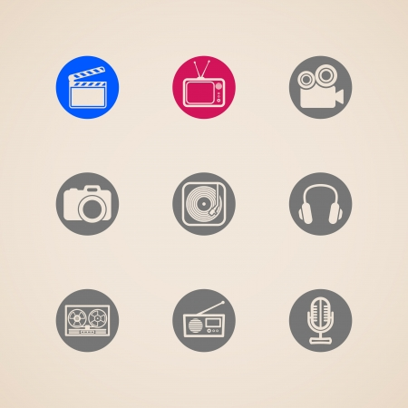 film slate: flat icons for web and mobile applications with creative industry items Illustration