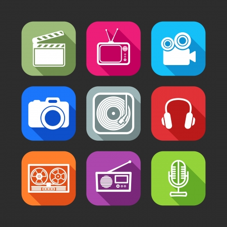 flat icons for web and mobile applications with creative industry items flat design with long shadows   Vector