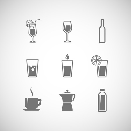 set of icons with beverages
